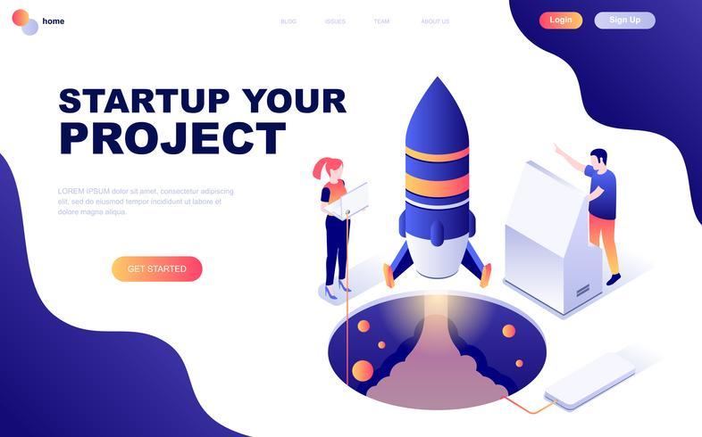 Concept isométrique de design plat moderne de Startup Your Project