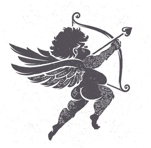 Cupido Silhouette con tatuaggi