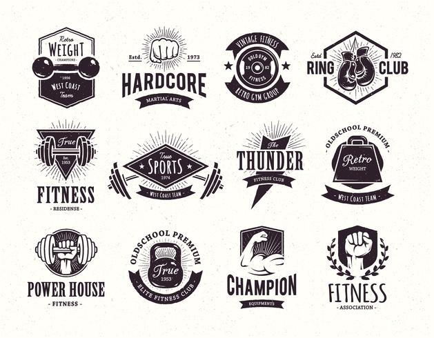Emblemas de fitness retro vector