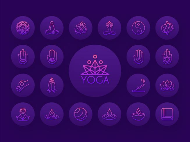Yoga verloop overzicht Vector Icon Set