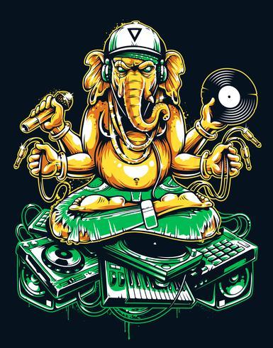 Ganesha DJ sentado en cosas musicales electrónicas vector