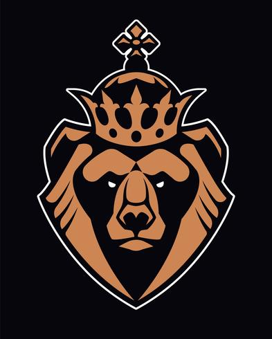Bear in Crown Mascot Vector Icon