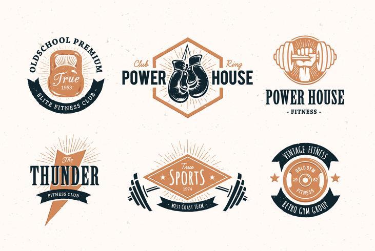 Emblemas de fitness retro