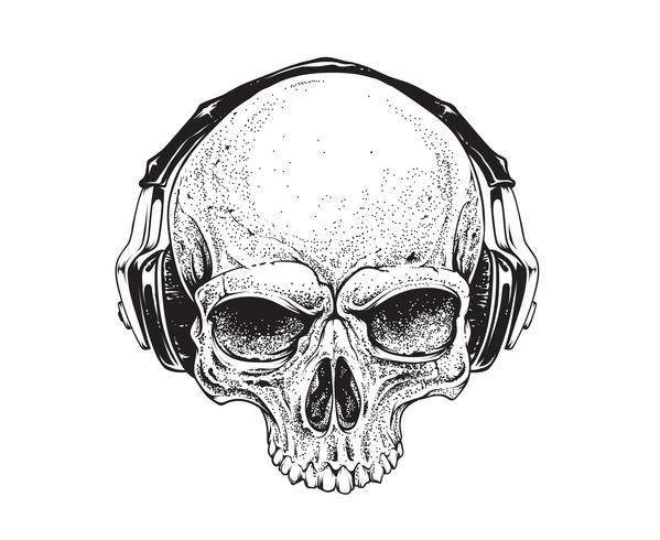 Schedel met hoofdtelefoons