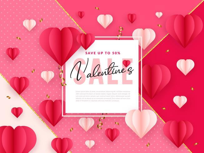Paper Art Valentines Sale Background