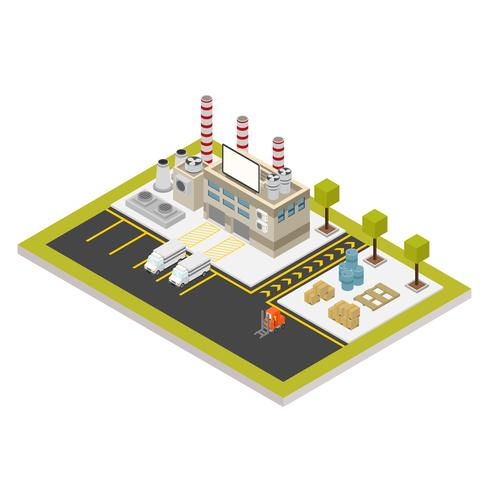 Bâtiments industriels isométriques mis Illustration vectorielle