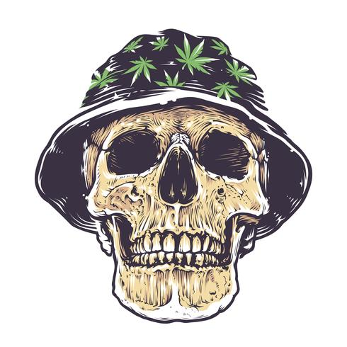 Crâne rasta dans chapeau