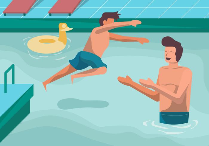 Happy Family Vacation On Pool Vector Illustration