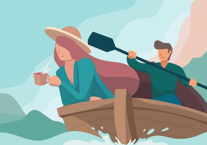 Couple Adventure With Boat Vector illustration - Download Free Vector Art, Stock Graphics & Images