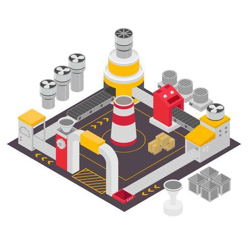 Conjunto de edificios industriales isométricos ilustración vectorial