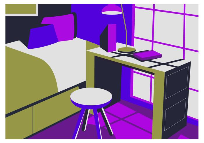 Flat Color Bedroom Interior Background Vector