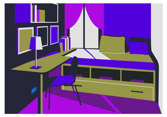 Plano acogedor dormitorio fondo ilustración vectorial