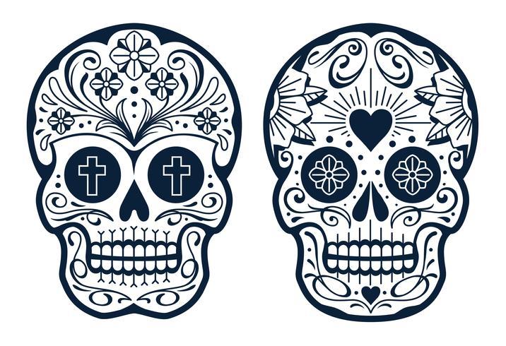 Crânios mexicanos de vetor com padrões