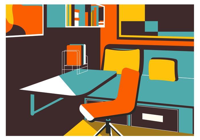 Flacher Schlafzimmer-Innenvektor-Hintergrund