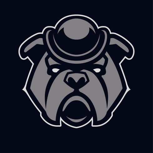 Bulldog i hatt Mascot Vector Icon