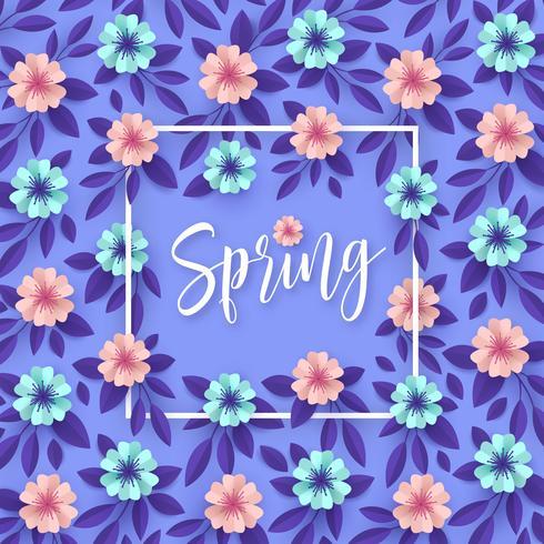 Fleurs de printemps papier art fond