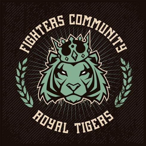 Emblemdesign med tiger i krona