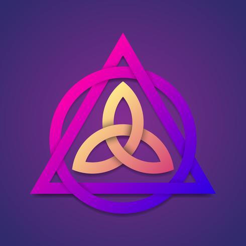 Symbole abstrait Triquetra dans un élément de couleurs modernes
