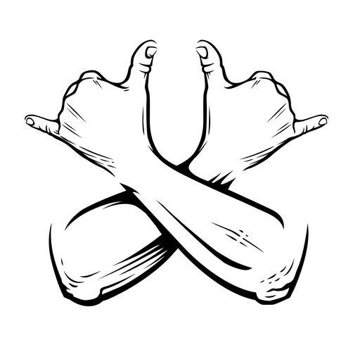 Mains croisées de Rastaman