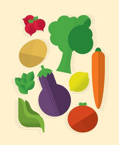 Kleurrijke plantaardige set