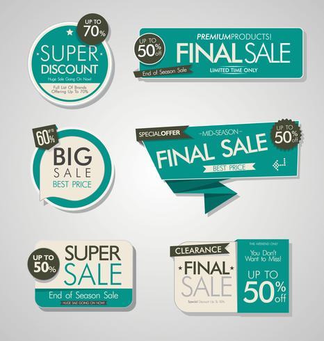Banners de venta modernos y colección de etiquetas