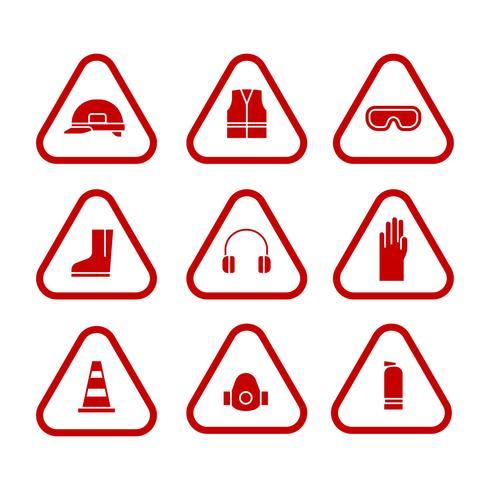 Persoonlijke beschermingsmiddelen Monochrome Icons Set