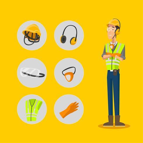 Persönliche Schutzausrüstung-Zeichen-Ikonen eingestellt