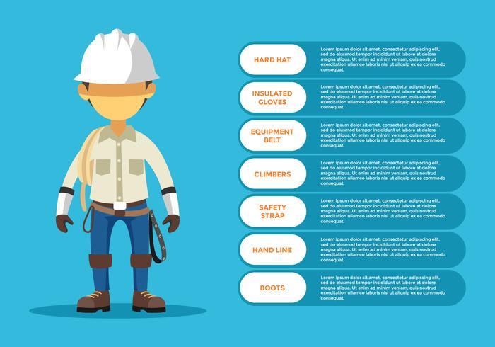 Persönlicher Lineman-Schutzausrüstung-Infographic-Vektor
