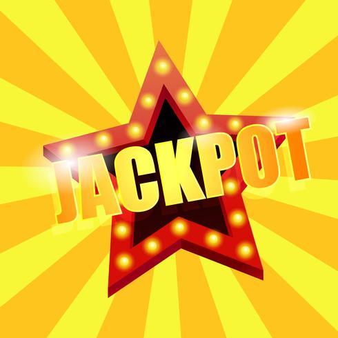 O jackpot é uma estrela. Grande vitória no cassino. Ilustração vetorial