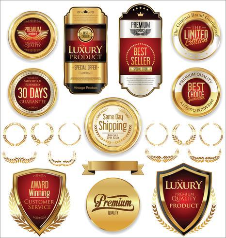 Insignias y etiquetas de oro premium de lujo