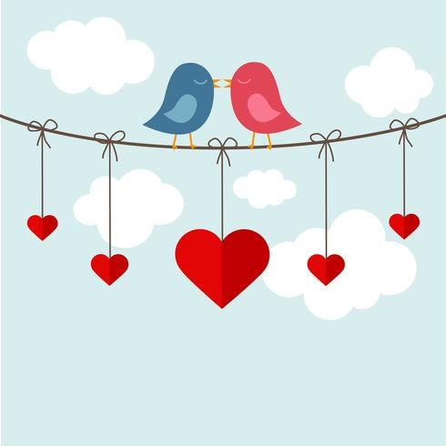 Two birds kissing on a cable
