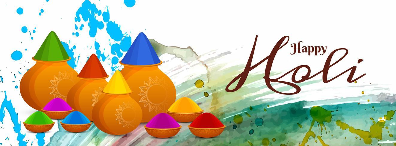 Modello di banner festival Happy Holi astratto
