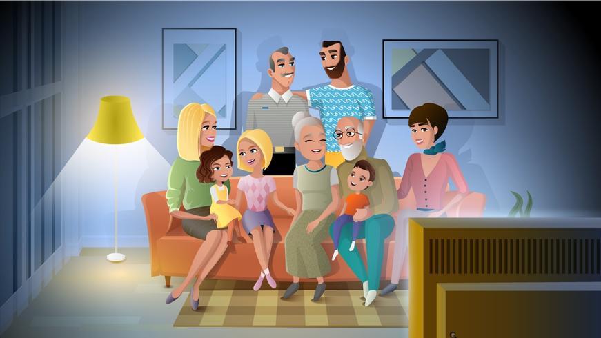 Grande reunião da noite da família no conceito home do vetor