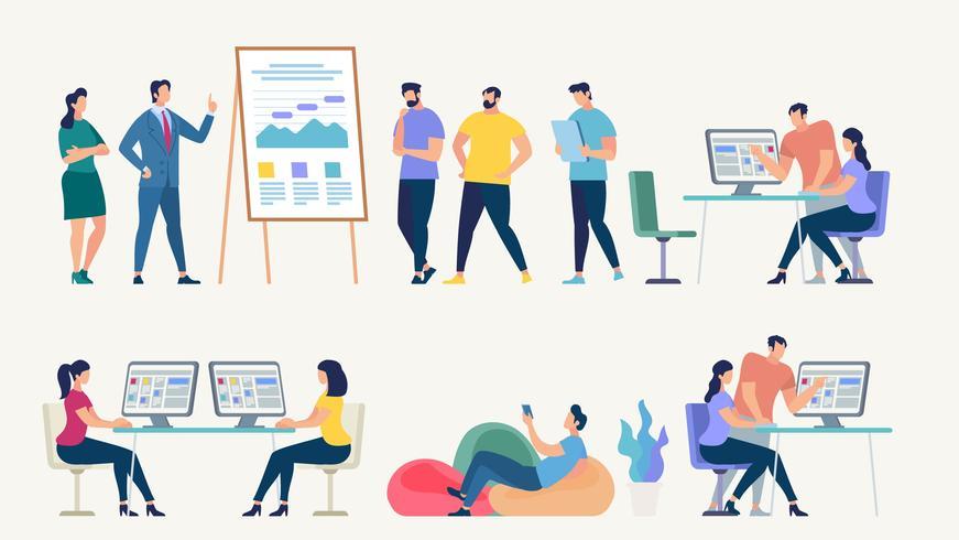Red social y concepto de vector de trabajo en equipo.