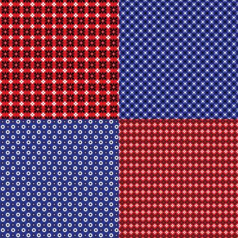 motifs géométriques bandana rouge et bleu