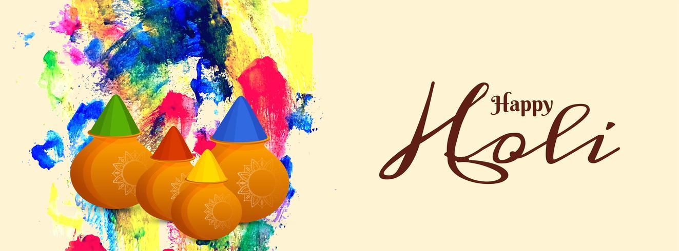Abstrakt Glad Holi festival färgglada banner vektor