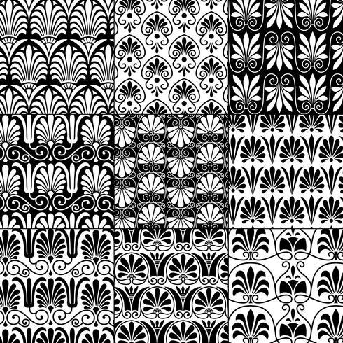 svartvita sömlösa klassiska grekiska mönster