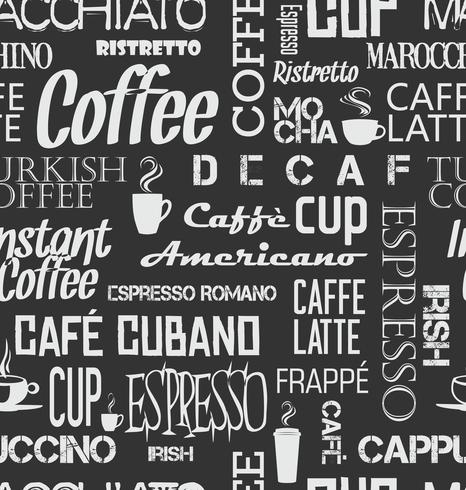 Background seamless tile of coffee words and symbols vector