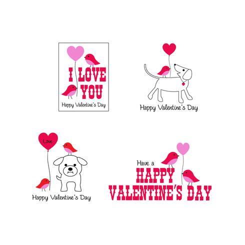 söta fåglar och hundar valentin grafik