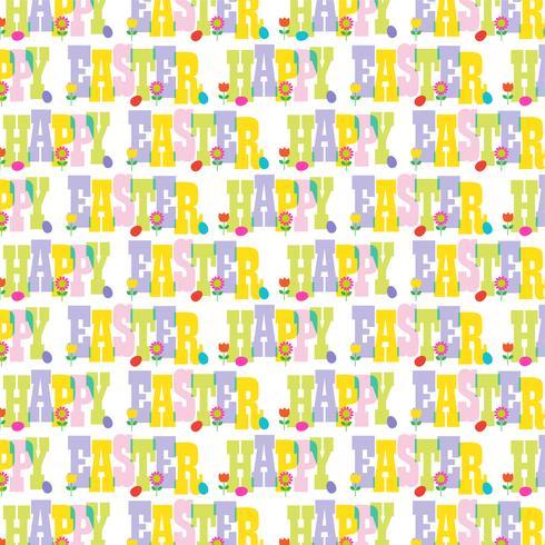 Gott påsk typografi mönster med blommor och ägg