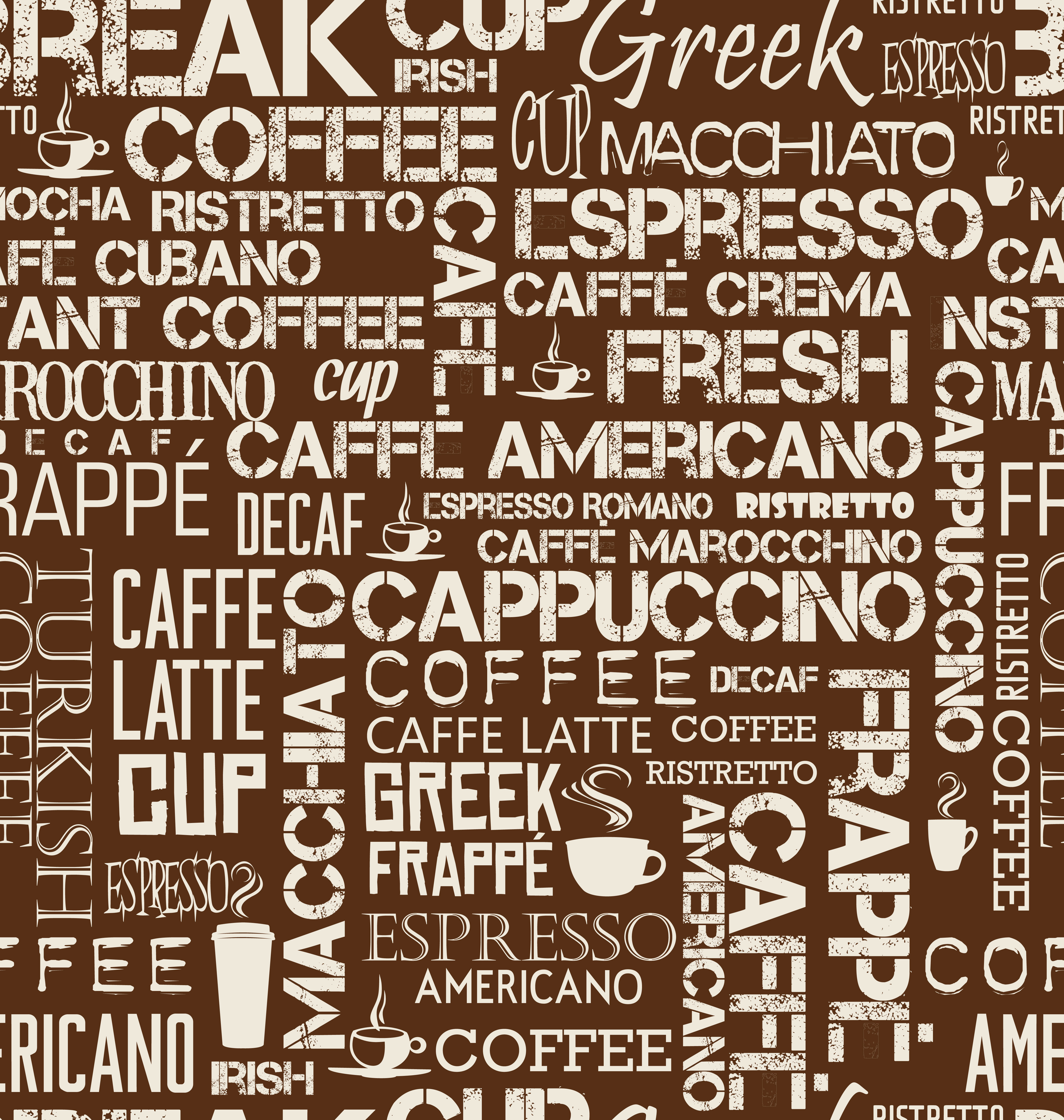 Background seamless tile of coffee words and symbols ...