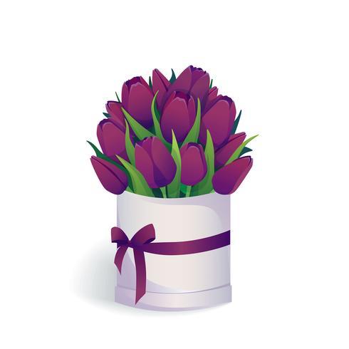 Bouquet di tulipani viola in scatola cappello rotondo.