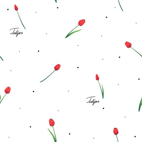 Seamless pattern with red tulips on white background with dotes and inscriptions.