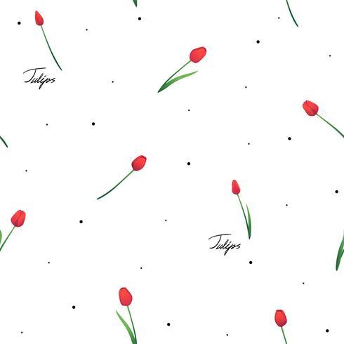 Modèle sans couture avec des tulipes rouges sur fond blanc avec des points et des inscriptions.