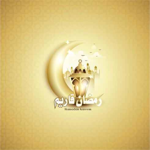 Ramadan Kareem with Fanoos Lantern, Crescent, & Mosque Background vector