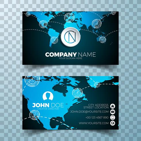 Vector modern business card design template with world map on clean backgound.