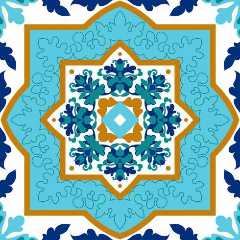 Portugiesisches azulejo. Weiße und blaue Muster.