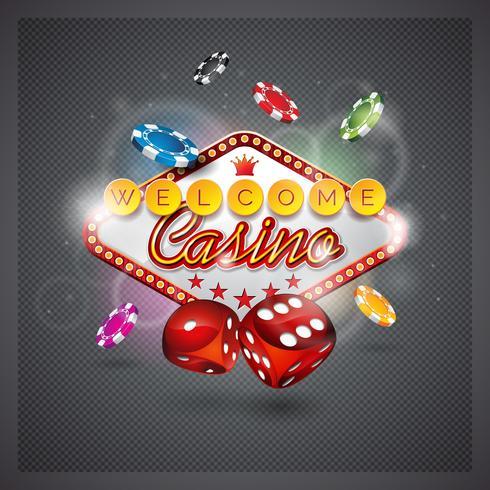 Vektor illustration på ett kasinotema med belysning display och tärningar