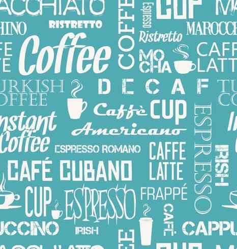 Azulejo de fondo sin fisuras de palabras de café y símbolos