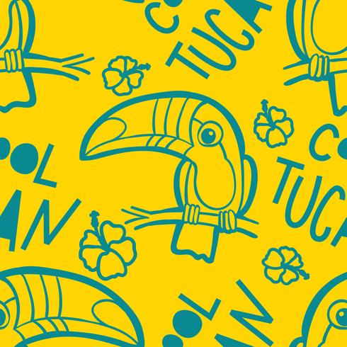 Tucano e ibisco. Modello senza cuciture verde tropicale.